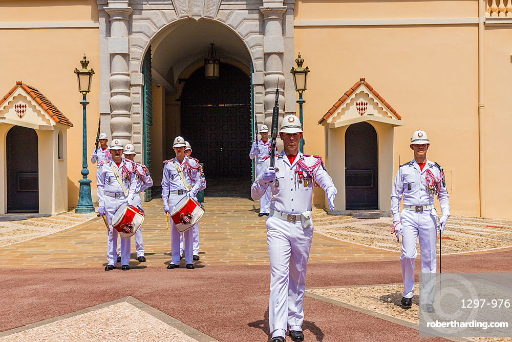 Changing of the Guard at Prince's Palace of Monaco in Monaco, Cote d'Azur, French Riviera, France, Europe