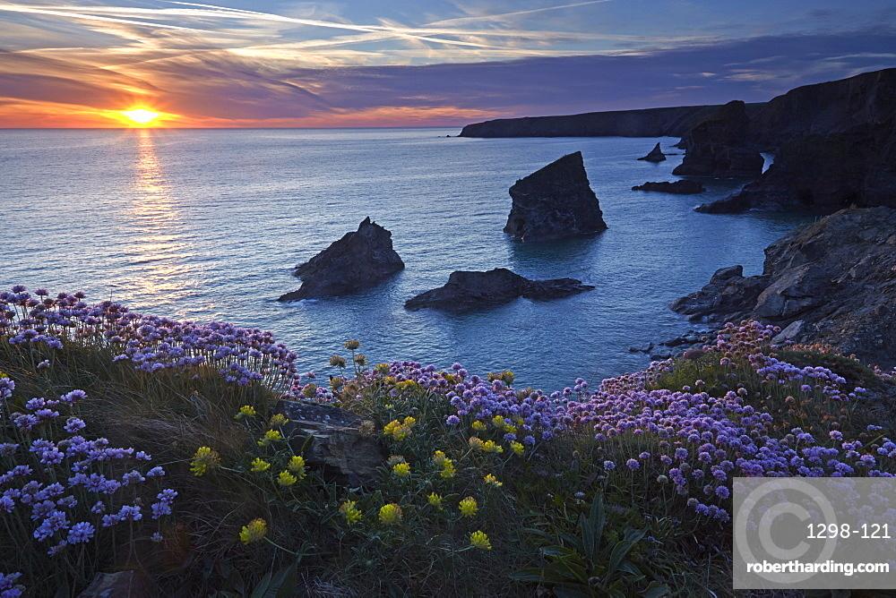 Sunset over Bedruthan Steps, Carnewas, Cornwall, England, United Kingdom, Europe