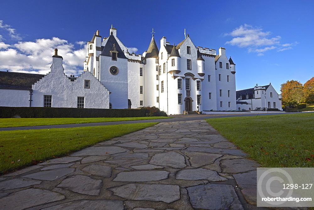 Blair Castle which is the ancestral home of Clan Murray, Blair Atholl, Perthshire, Scotland, United Kingdom, Europe.