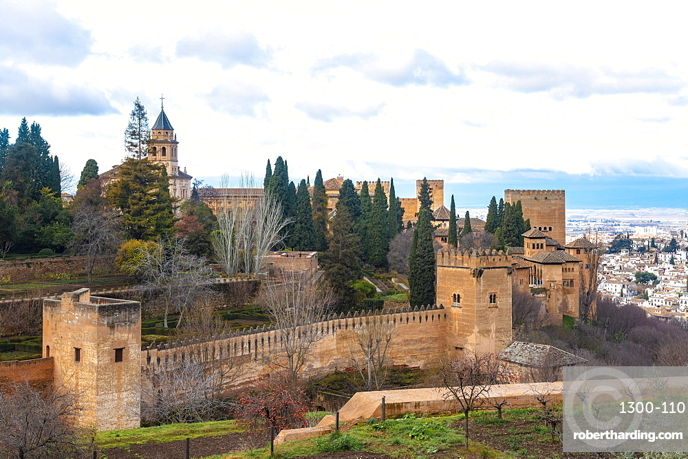 View of Alhambra palace complex from generallife