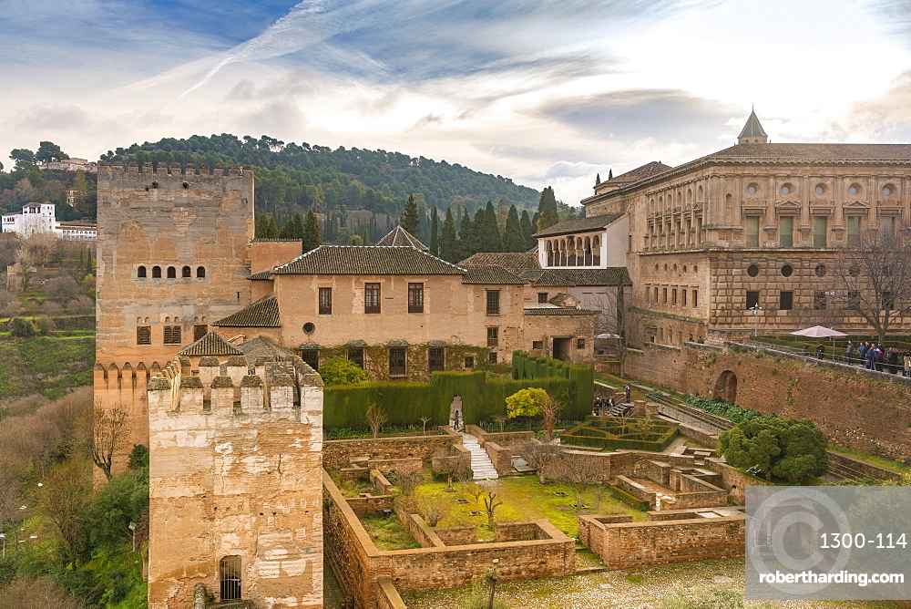 Alcazaba ruins at alhambra in Granada
