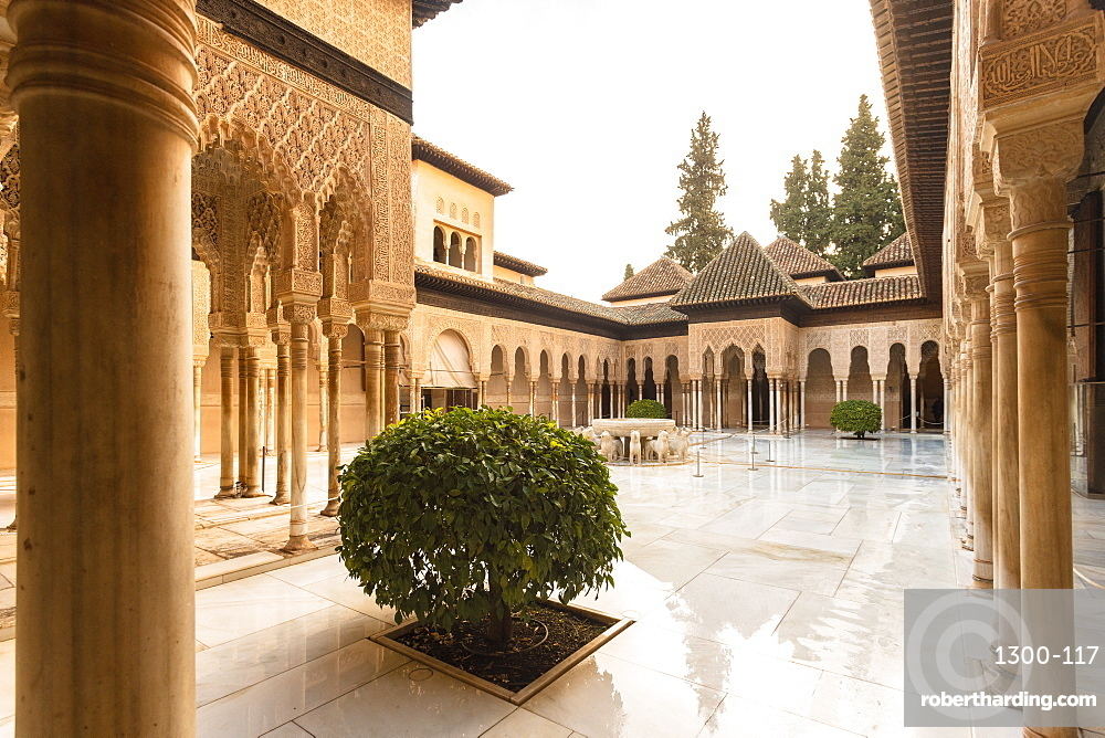 Court of the Lions at the Nasrid palace in Alhambra