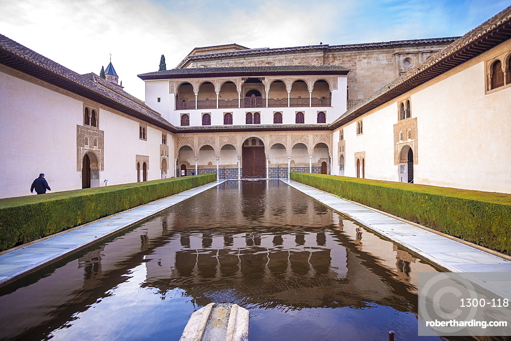A court at the Moorish Nasrid Palace, Alhambra, UNESCO World Heritage Site, Granada, Andalucia, Spain, Europe