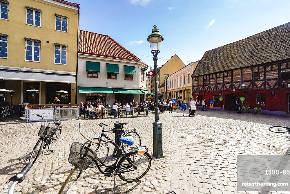Lilla Torg or the small square in the old city, Malmo, Skane county, Sweden, Europe