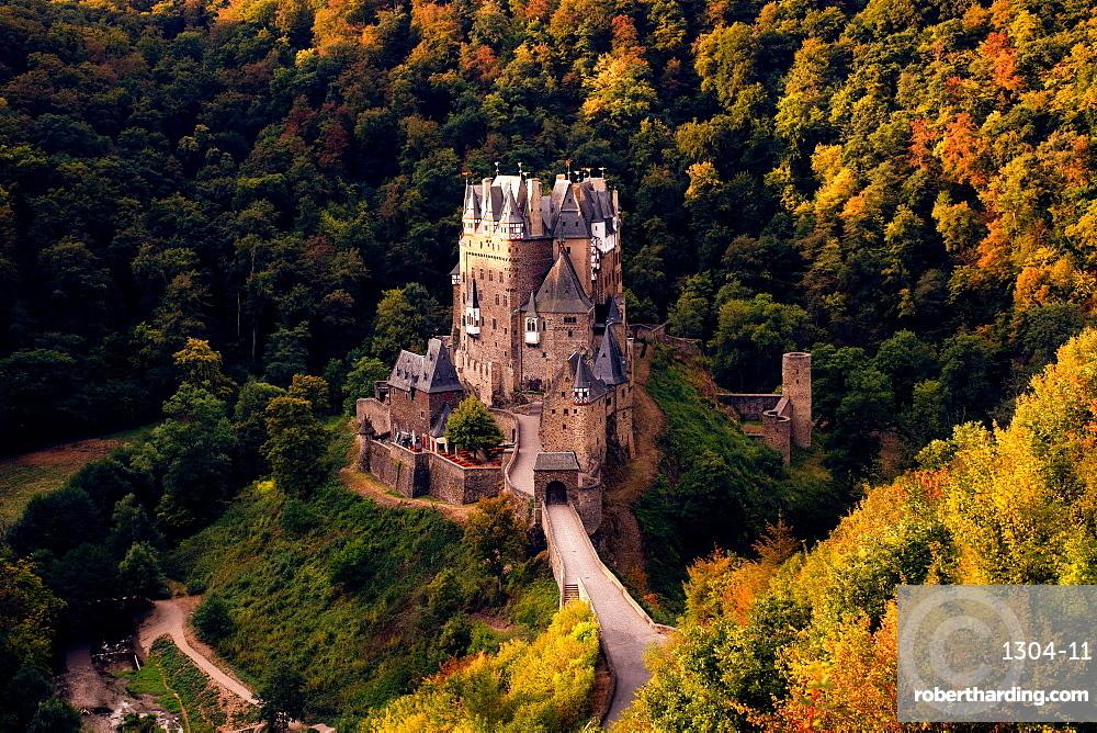 Burg Eltz Castle in Germany at sunrise, Rhineland-Palatinate, Germany, Europe