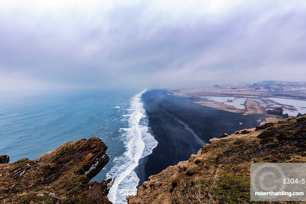 Dyrholaey Lookout, with one of the stunning black sand beaches below, Iceland, Polar Regions
