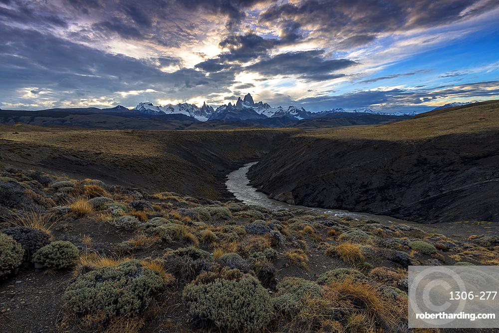 Mount Fitz Roy (Cerro Chalten) with Las Vueltas river , a typical Patagonia landscape, Los Glaciares National Park, El Chalten,