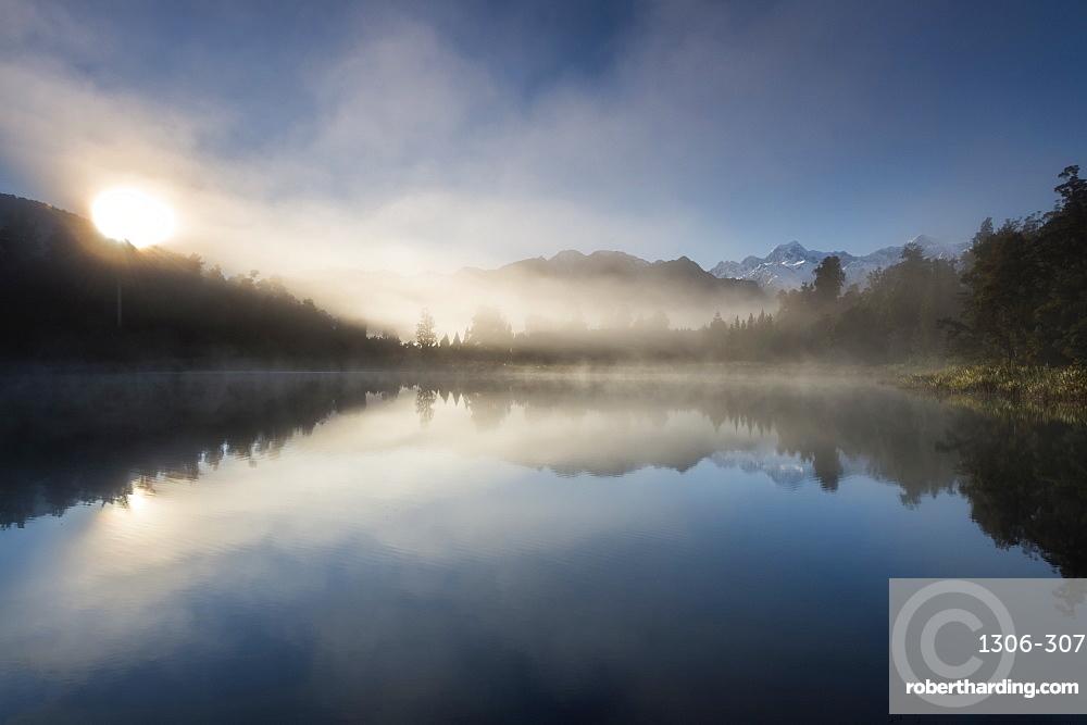 Sunrise at Lake Matheson, near the Fox Glacier in South Westland, New Zealand