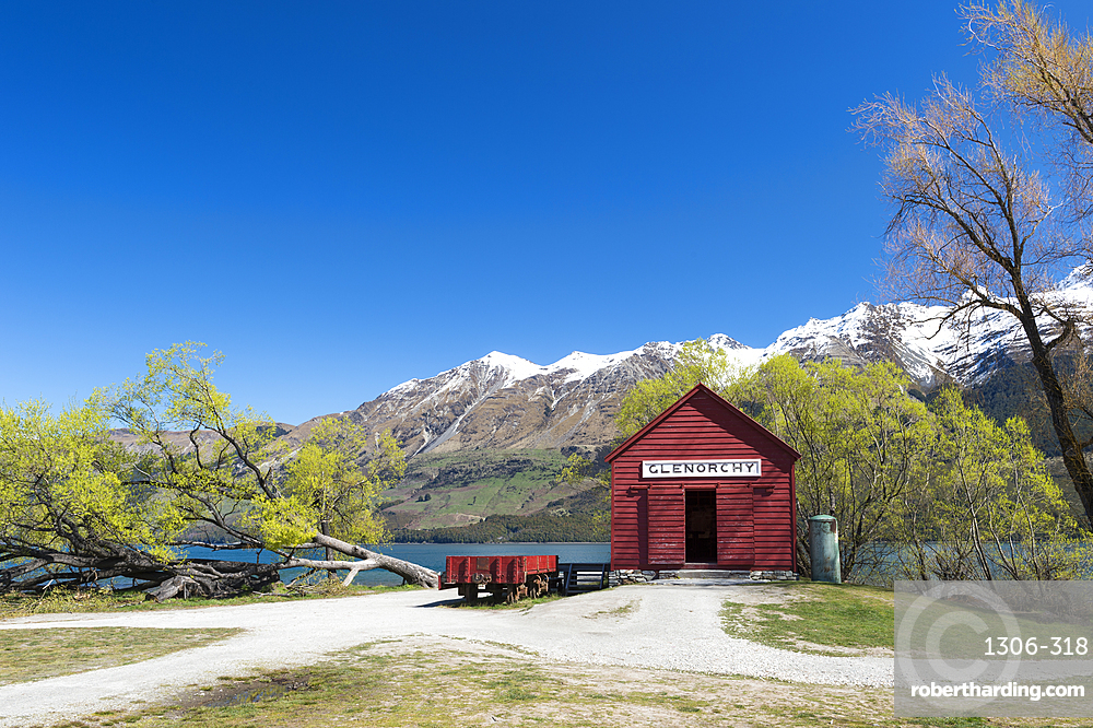 The red boat house in Glenorchy in spring. Queenstown Lakes district, Otago region, South Island, New Zealand