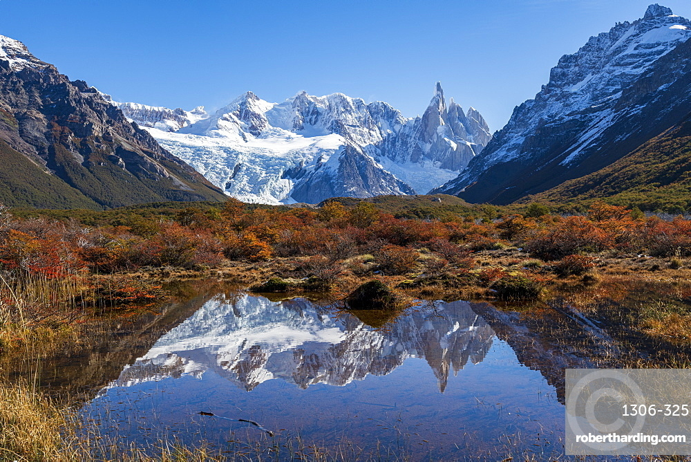 Autumn colours in Los Glaciares National Park with reflections of Cerro Torro, Argentina
