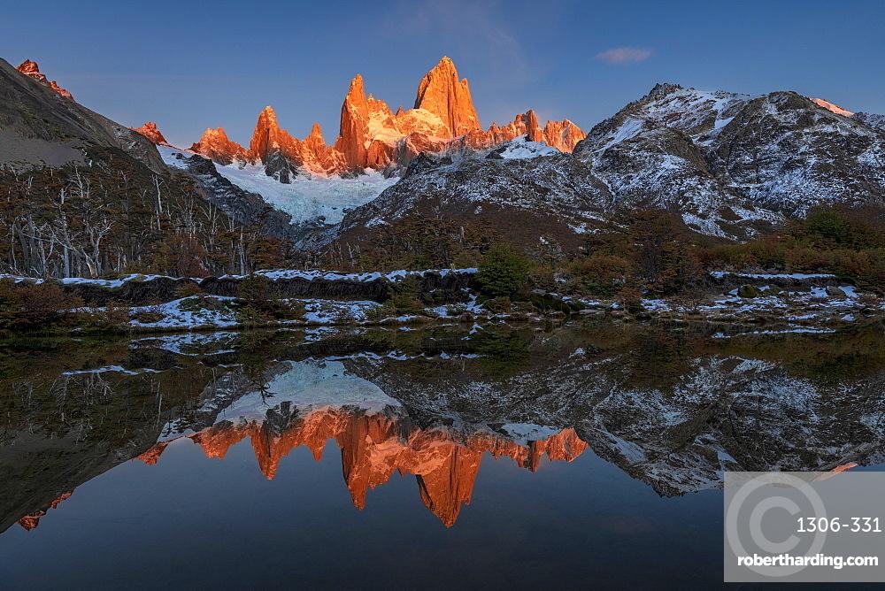 Mountain range with Cerro Fitz Roy at sunrise reflected, Los Glaciares National Park, El Chaltén, Patagonia, Argentina,