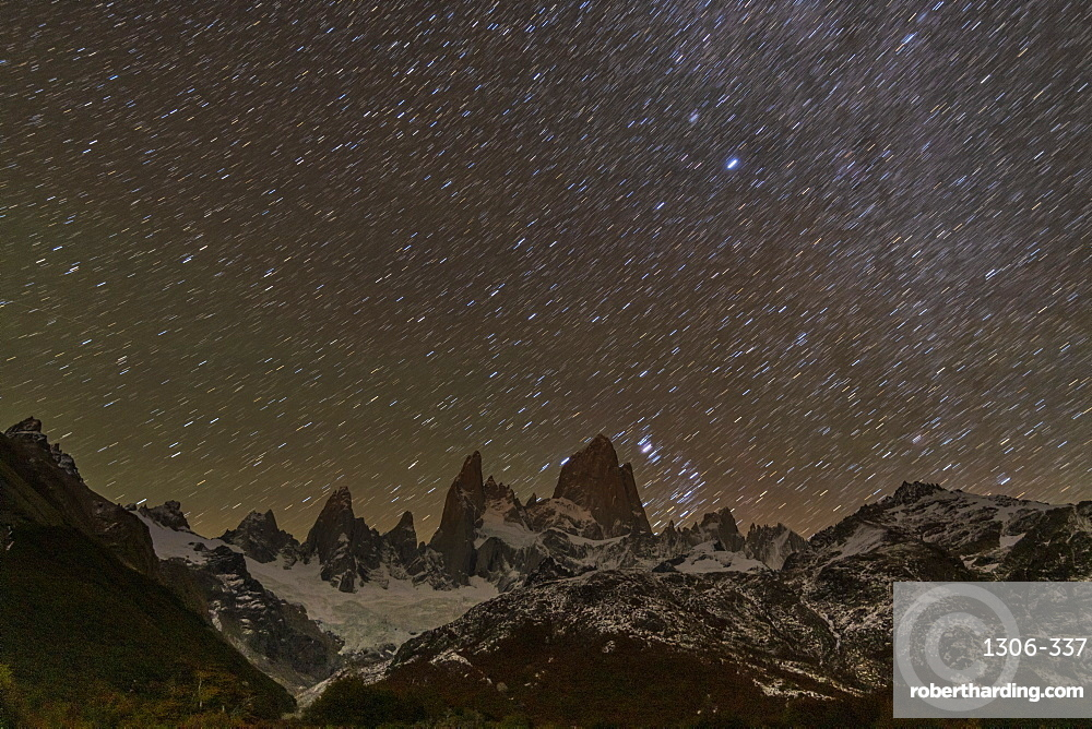 Mt Fitz Roy and Cerro Torre at night with star trails, El Chalten, Patagonia, Argentina
