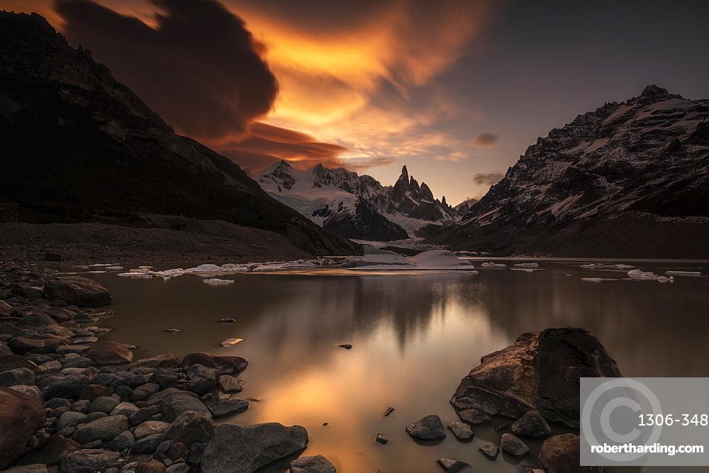 Sunset and lenticular clouds at Laguna Torre, Los Glaciares National Park, Santa Cruz Province, Patagonia