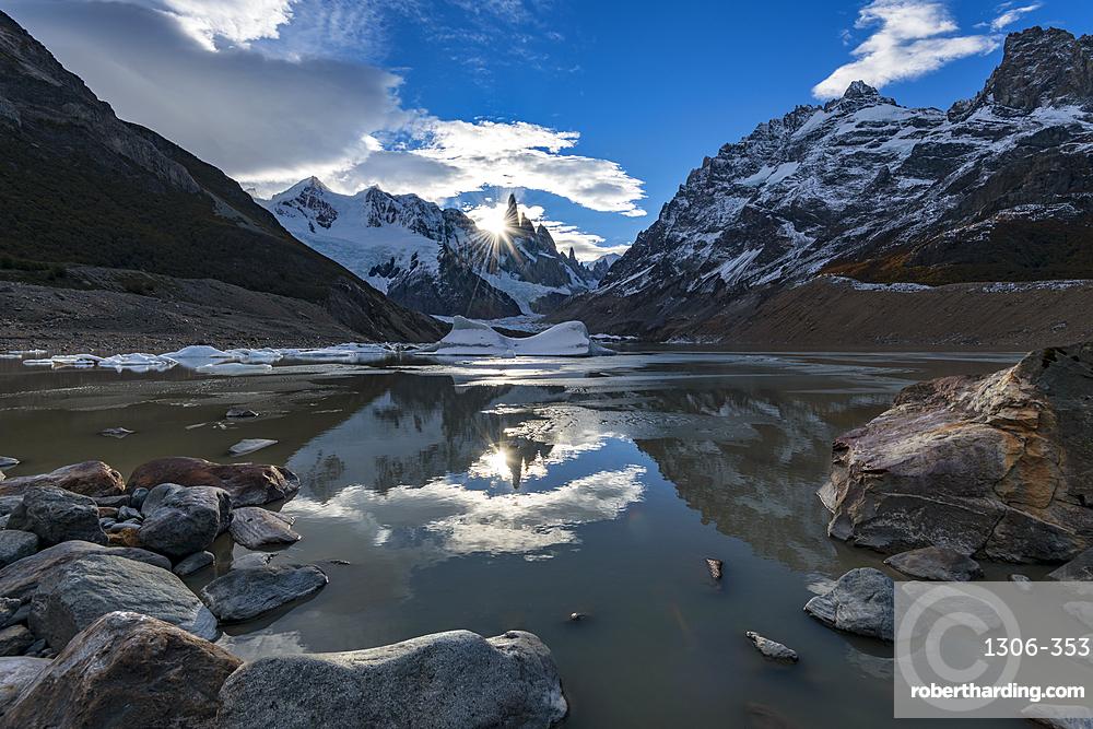 Sunset at Laguna Torre, Los Glaciares National Park, UNESCO World Heritage Site, Santa Cruz Province, Argentina, South America