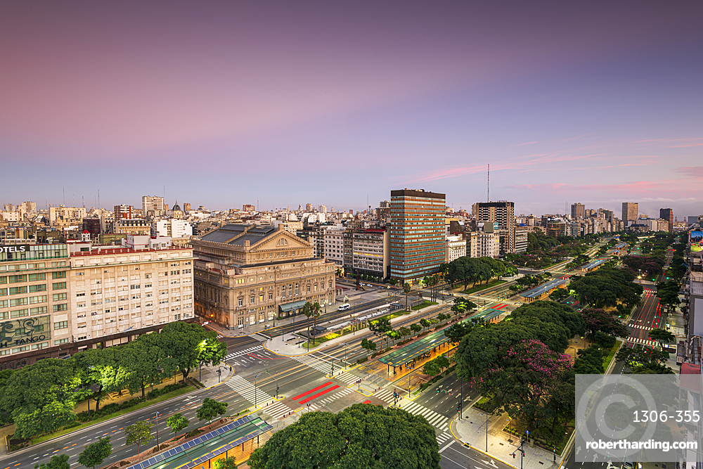 Teatro Colon at sunrise on 9 de Julio Avenue, Buenos Aires, Argentina, South America