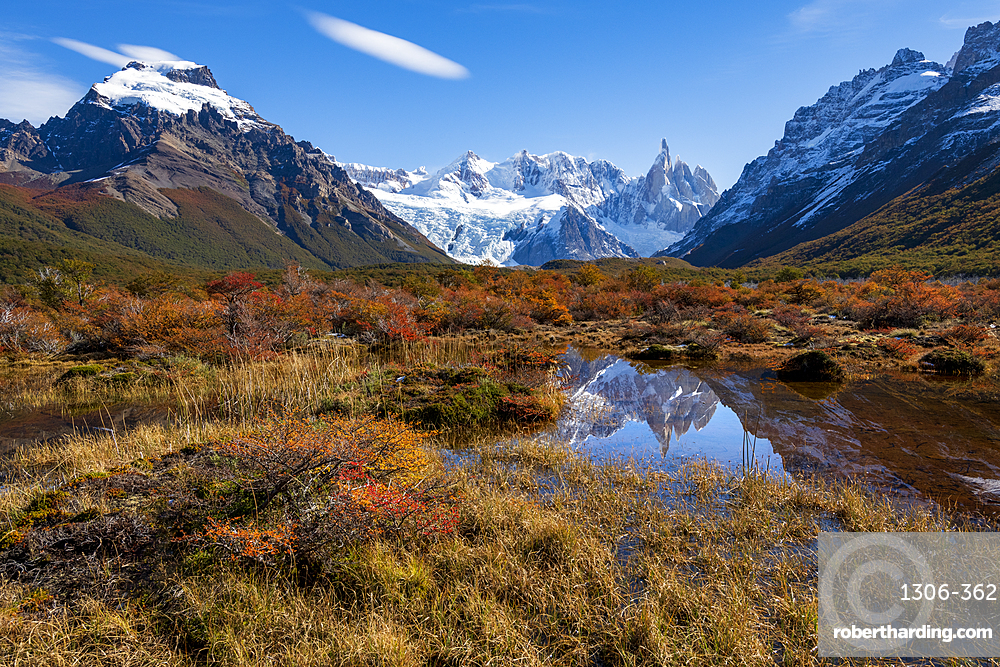 A typical Patagonian landscape with Mount Fitz Roy, El Chalten, Patagonia, Argentina,