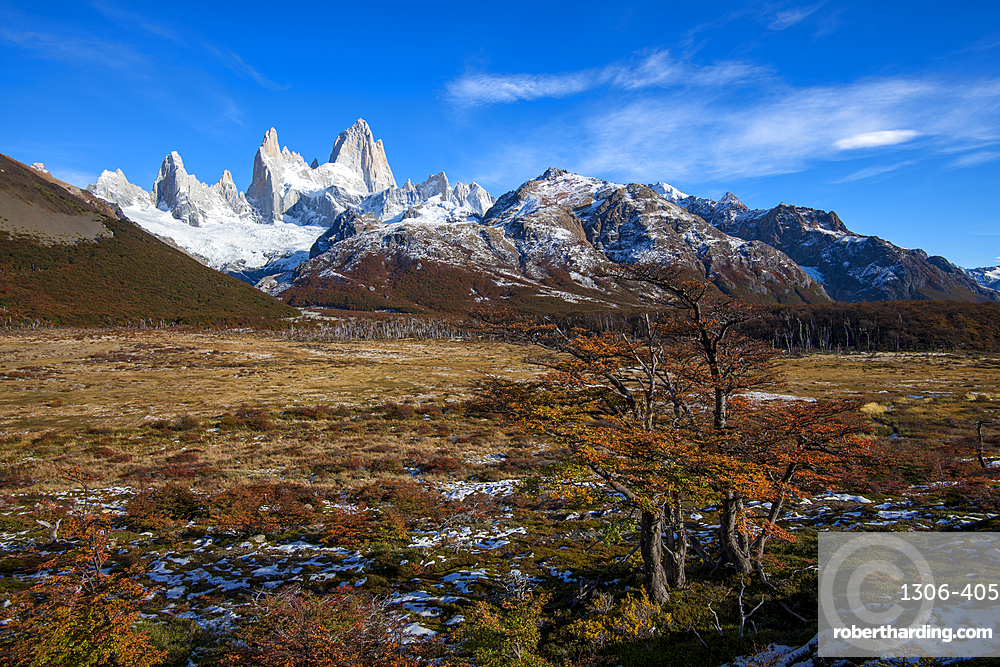 Typical autumnal Patagonian landscape with Mount Fitz Roy, El Chalten, Patagonia, Argentina,