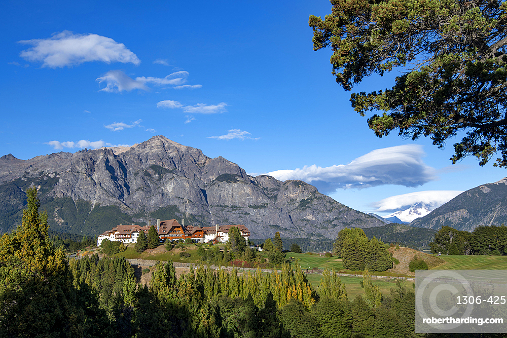 Llao Llao Hotel set against mountain back drop, Barilochie, Patagonia, Argentina