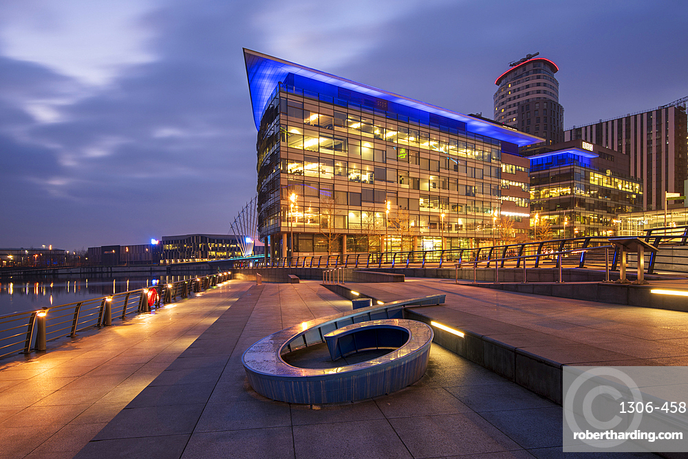 MediaCity UK with BBC building, Salford Quays, Manchester UK
