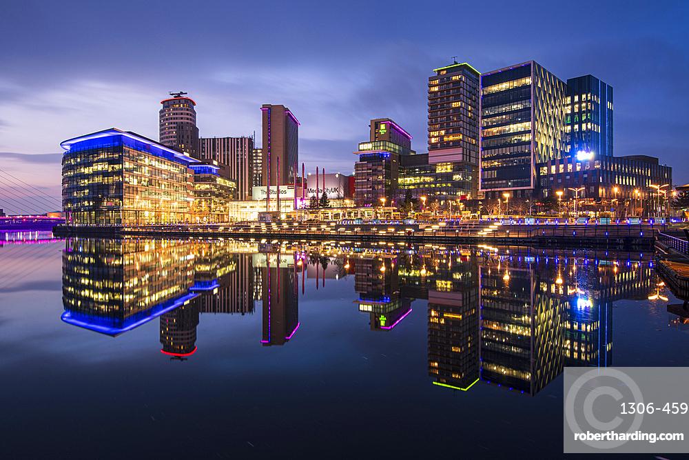 MediaCity UK at dusk, Salford Quays, Manchester, England, United Kingdom, Europe