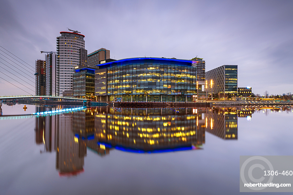 MediaCity UK reflected, Salford Quays, Manchester UK