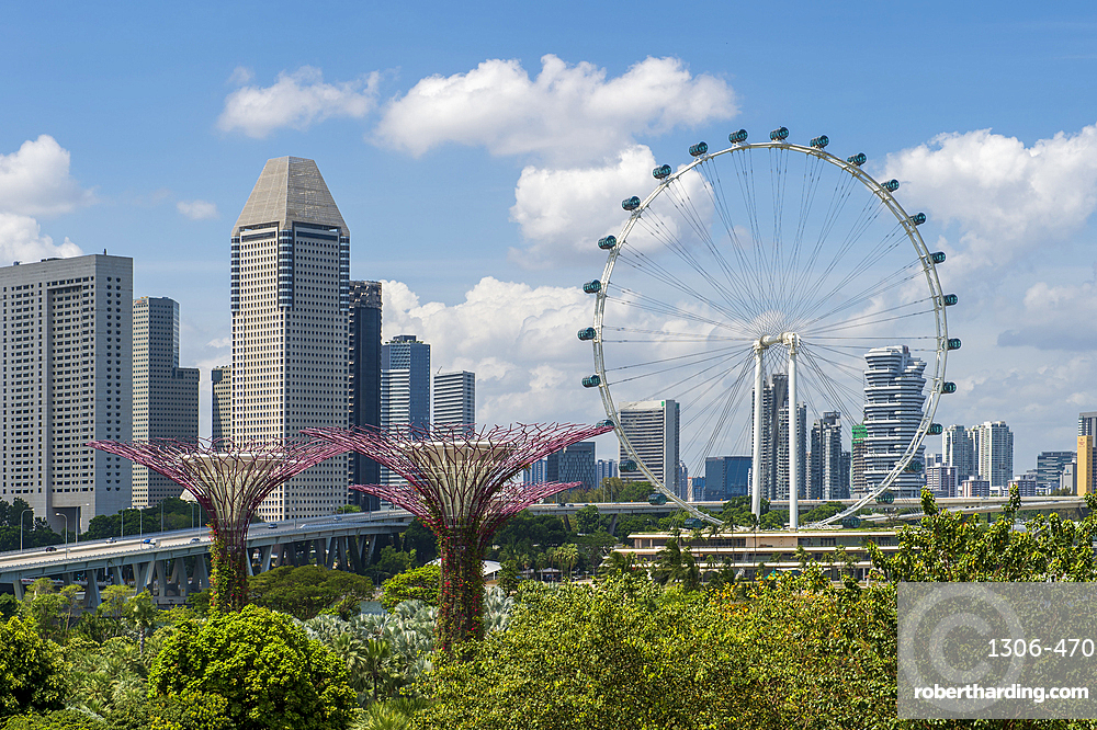 Supertrees of Gardens by the Bay and ferris wheel, Singapore, Southeast Asia, Asia