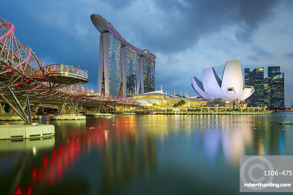 The Helix Bridge and Marina Bay Sands hotel at night, Singapore