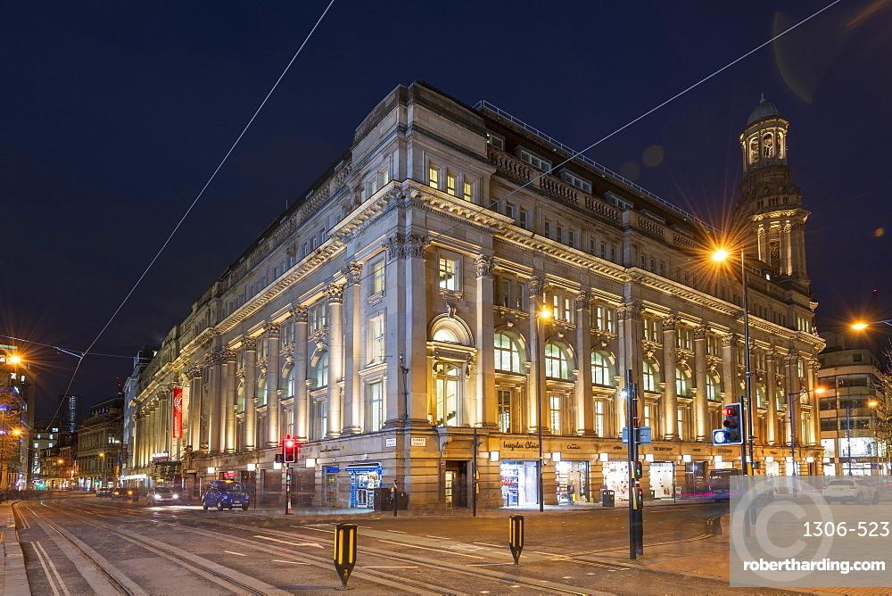 Cross Street at night, Manchester.