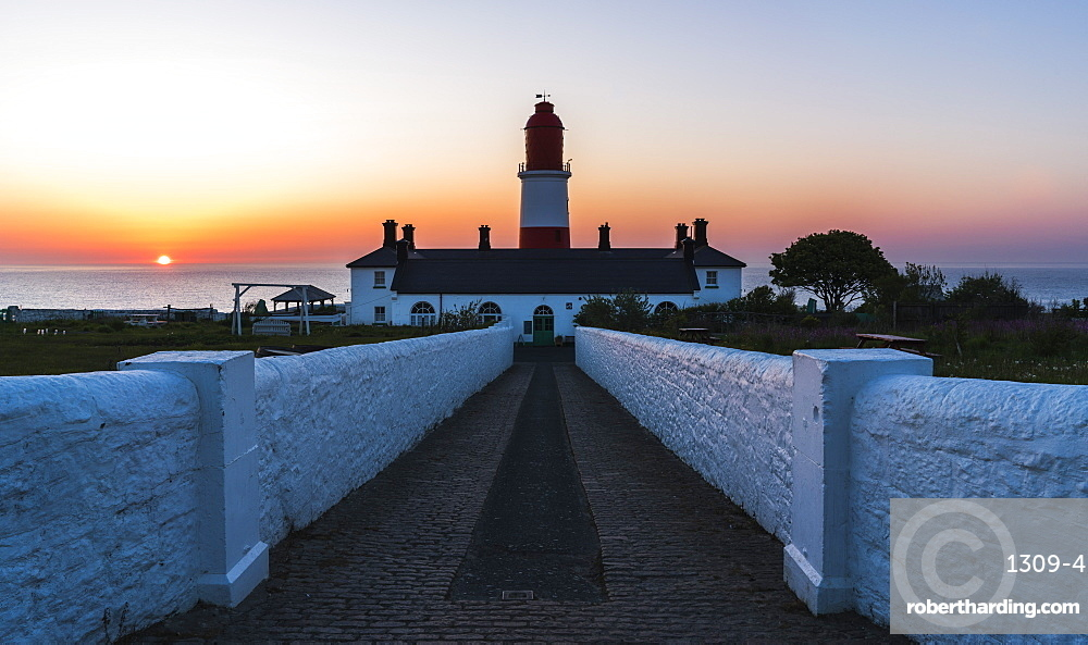 Sunrise behind Souter Lighthouse, Marsden, South Shields, Tyne and Wear, England, United Kingdom, Europe