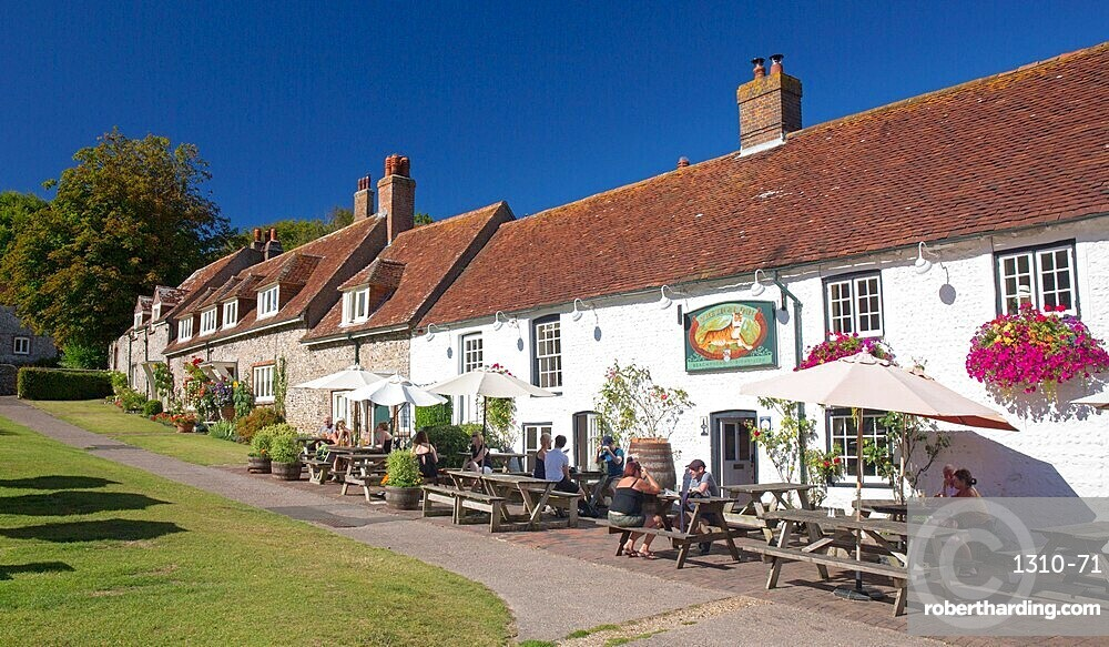 The 16th century Tiger Inn beside the village green, East Dean, South Downs National Park, East Sussex, England, UK