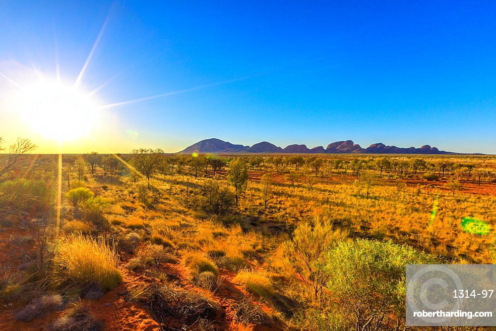 Sunrays at afternoon of Kata Tjuta in Uluru-Kata Tjuta National park at sunset. Australian outback from platform dune viewing area at twilight in Northern Territory, Australia.