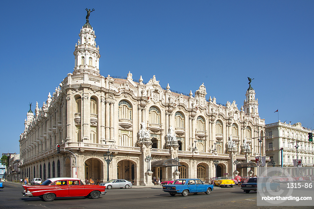 Street view featuring Great Theatre of Havana (Gran Teatro de La Habana) in Havana, Cuba