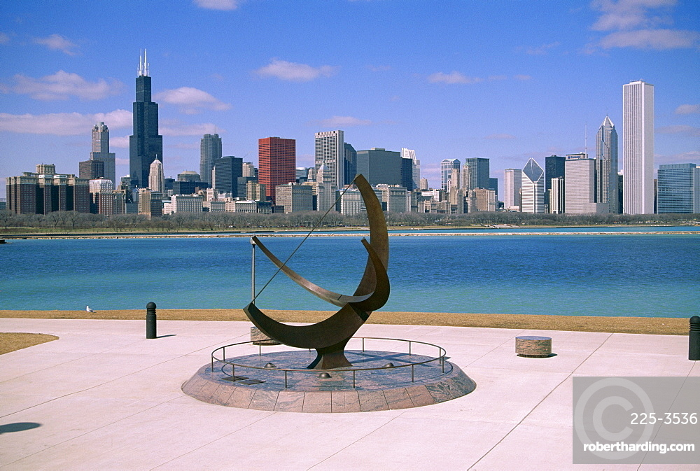 City skyline and Lake Michigan from the Adler Planetarium, Chicago, Illinois, United States of America (U.S.A.), North America