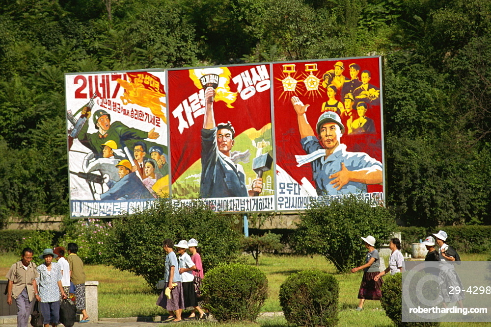 Communist style posters, Pyongyang, North Korea, Asia