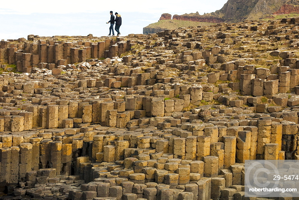 Columnar basalt lava at Giant's Causeway, UNESCO World Heritage Site, County Antrim, Northern Ireland, United Kingdom, Europe