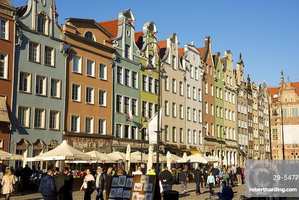 Restored buildings, Dluga Targ (main square), Gdansk, Poland, Europe