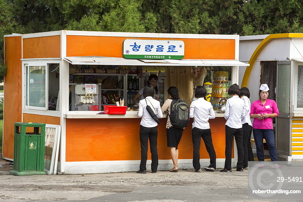 Snack kiosk in street in centre of Pyongyang, North Korea, Asia