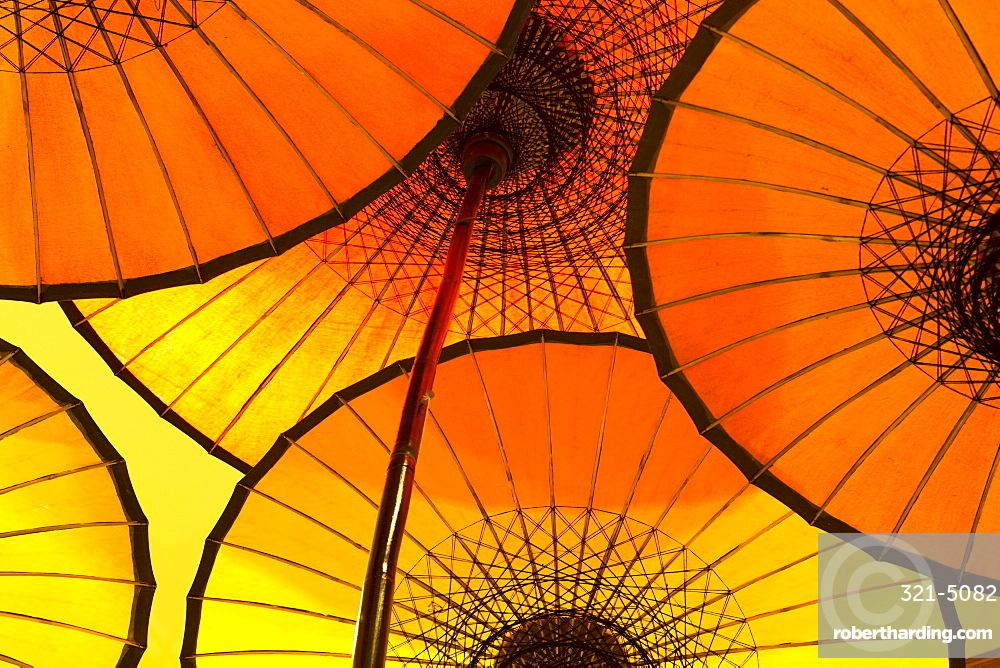 Colourful yellow and orange parasols backlight, Bagan, Myanmar (Burma), Southeast Asia