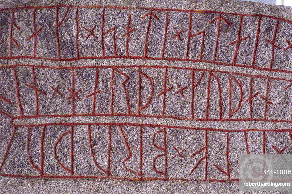 Runic stone erected by Ake in memory of his borther Ulf circa 1000AD, Lund, Sweden, Scandinavia, Europe