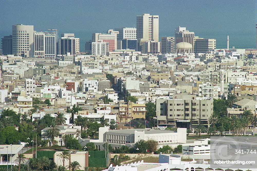 Aerial view over the Diplomatic Quarter, Bahrain, Middle East