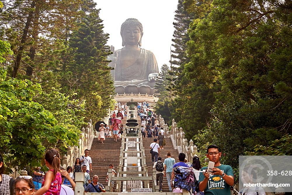 Visitors make the climb to see Big Buddha, Po Lin Monastery, Ngong Ping, Lantau Island, Hong Kong, China, Asia