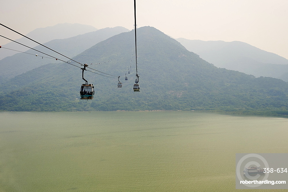 Ngong Ping 360 gondola takes visitors to Big Buddha and Po Lin Monastery, Lantau Island, Hong Kong, China, Asia