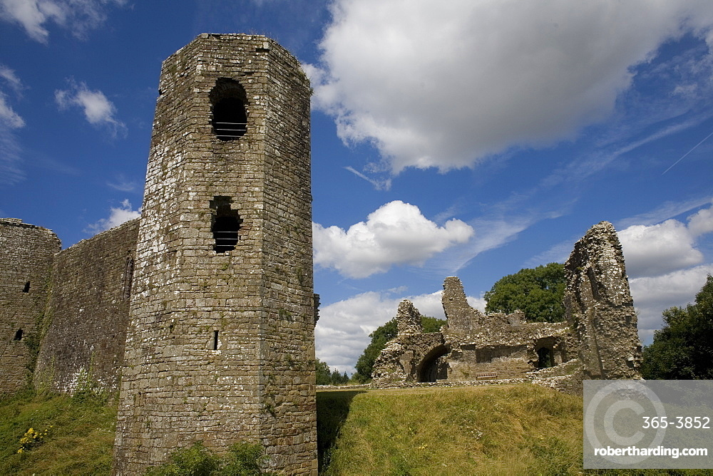 South East tower and eastern part of Llawhaden Castle, Pembrokeshire, Wales, United Kingdom, Europe