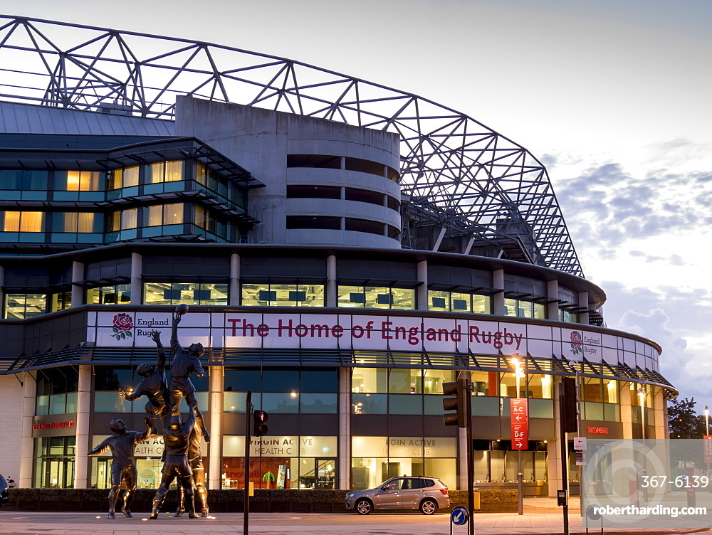 Twickenham Rugby Stadium dusk, Greater London, England, United Kingdom, Europe