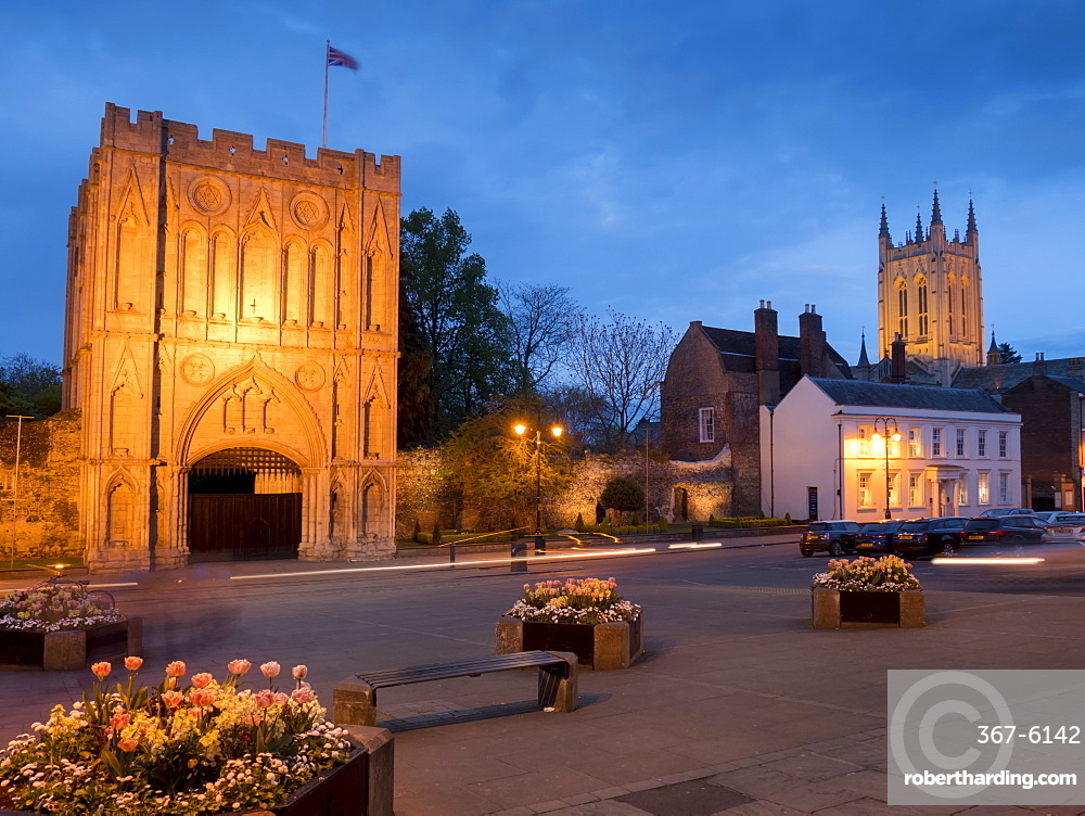 Norman Gatehouse tower and Abbey at twilight, Bury St. Edmunds, Suffolk, England, United Kingdom, Europe