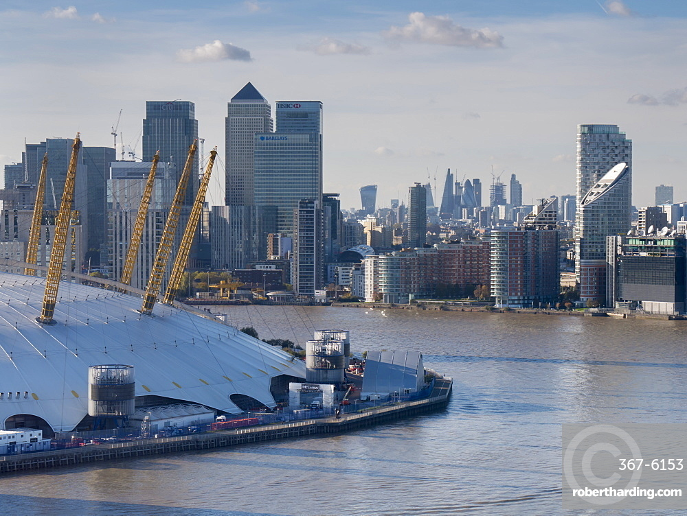 UK, England, London, Canary Wharf and O2 from Emirates cable car