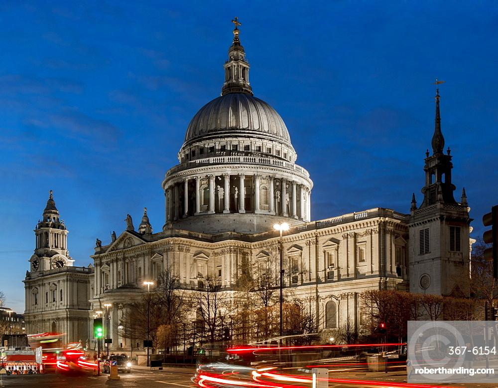 St. Paul's cathedral dusk, London, England, United Kingdom, Europe