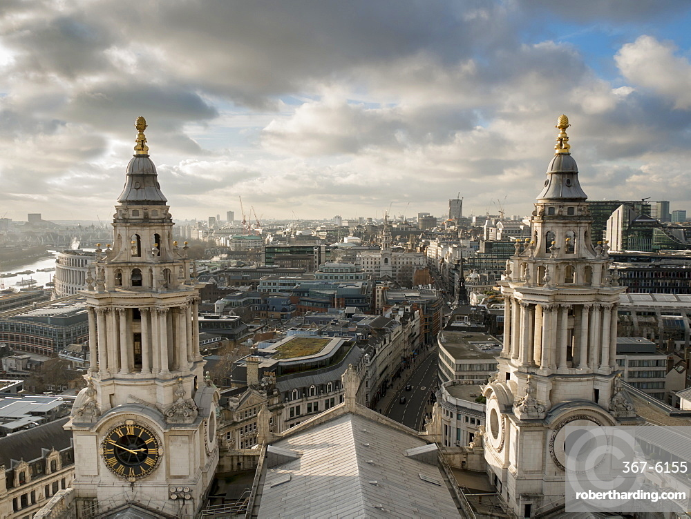 St. Pauls Cathedral twin spires frame cityscape, London, England, United Kingdom, Europe
