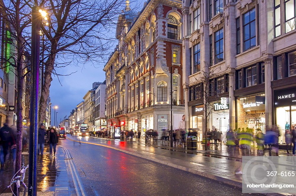 Rainy dusk on Oxford Street, London, England, United Kingdom, Europe