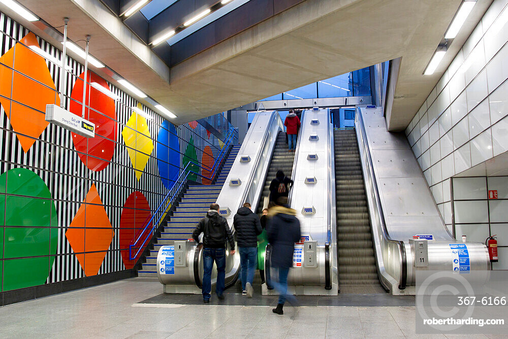 The redeveloped Tottenham Court Road station escalators, London, England, United Kingdom, Europe